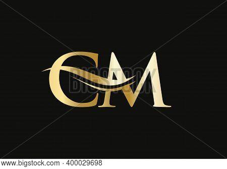 Letter Cm Logo Design With Water Wave Concept. Cm Letter Logo Design