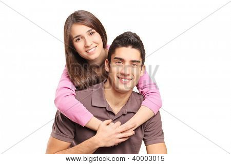 Young loving couple hugging isolated on white background