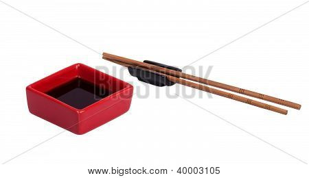 Soy Sauce  With Chopsticks Isolated