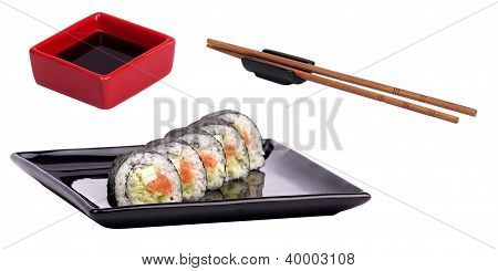 Soy Sauce  With Sushi Roll And Chopsticks