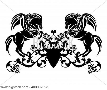 Rearing Up Pegasus And Rose Flowers Heraldic Decor - Pair Of Winged Stallions Black And White Vector