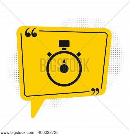 Black Stopwatch Icon Isolated On White Background. Time Timer Sign. Chronometer Sign. Yellow Speech