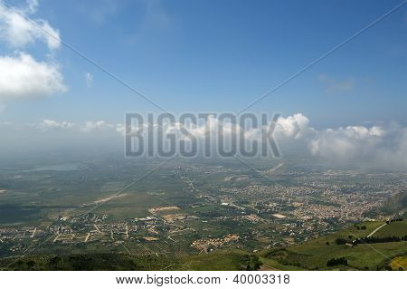 Landscape Of A Mountain Valley With A Aerial View.  Sicily. Italy