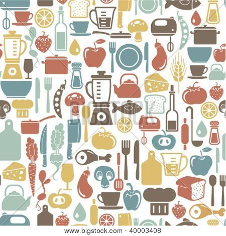 seamless pattern with cooking icons