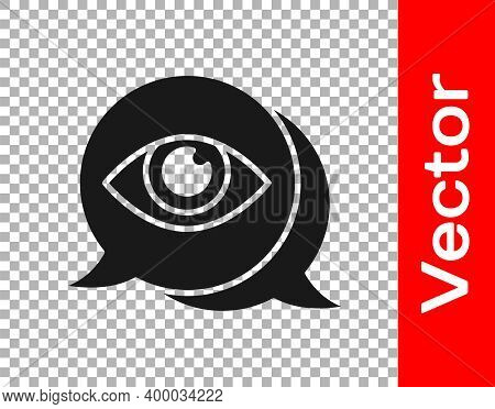 Black Eye Scan Icon Isolated On Transparent Background. Scanning Eye. Security Check Symbol. Cyber E