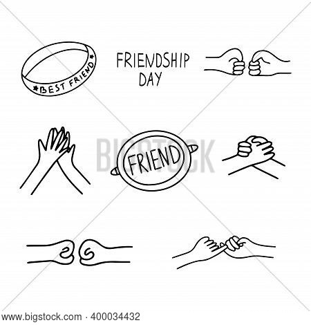 Set Of Icons On The Theme Of Friendship. Handshake, Greeting, Friendship Bracelet, Badge With The In