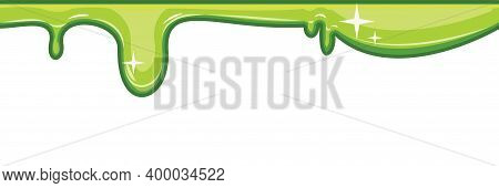 Flows Of Light Green Fluid. Thick Flowing Paint. Slime. The Drops Are Slipping. The Isolated Object