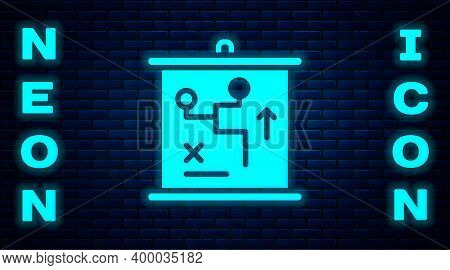 Glowing Neon Planning Strategy Concept Icon Isolated On Brick Wall Background. Cup Formation And Tac