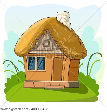 Old House With A Thatched Roof. Fabulous Cartoon Object. Cute Childish Style. Ancient Dwelling. Tiny