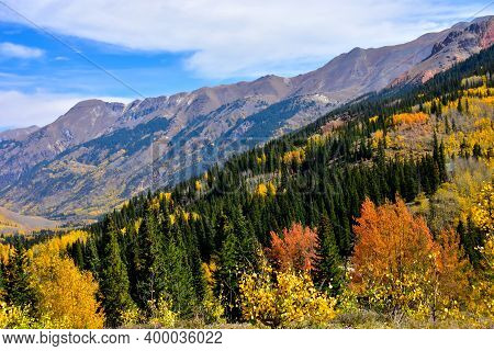 Beautiful Fall Colors On The San Juan Skyway, Colorado.
