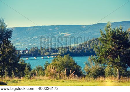 View Of The Fjord. Bridge Over The Fjord To The Gjovik City. Beautiful Nature Norway