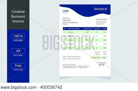 Invoice Minimal Design Template. Bill Form Business Invoice. Business Invoice.money Bills.price Invo