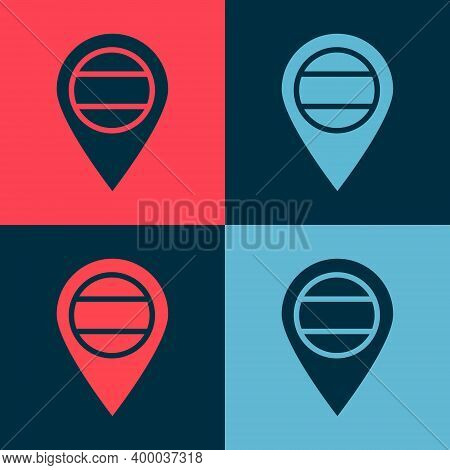 Pop Art Location Russia Icon Isolated On Color Background. Navigation, Pointer, Location, Map, Gps,