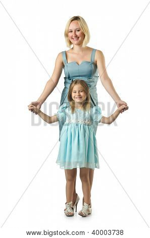 Mother with daughter isolated on white
