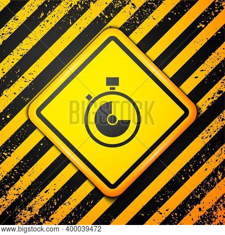 Black Stopwatch Icon Isolated On Yellow Background. Time Timer Sign. Chronometer Sign. Warning Sign.