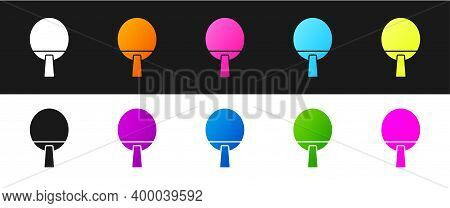 Set Racket For Playing Table Tennis Icon Isolated On Black And White Background. Vector