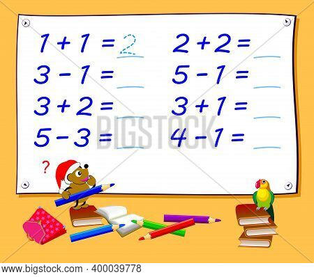 Math Education For Little Children. Solve Examples And Write The Numbers. Exercises On Addition And