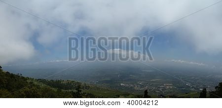 Panoramic Landscape Of A Mountain Valley With A Aerial View. Sicily. Italy