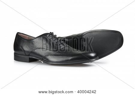 Fashion concept with male shoes on white