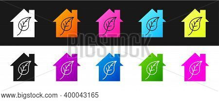 Set Eco Friendly House Icon Isolated On Black And White Background. Eco House With Leaf. Vector