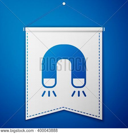 Blue Magnet Icon Isolated On Blue Background. Horseshoe Magnet, Magnetism, Magnetize, Attraction. Wh