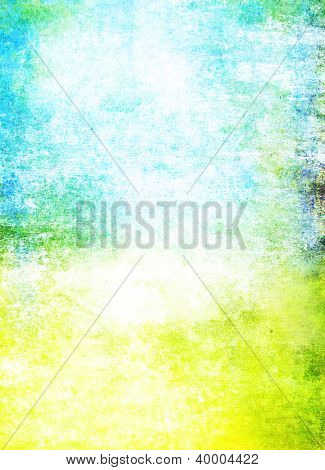 Abstract Textured Background: Blue, Yellow, And Green Patterns On White Backdrop