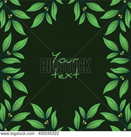Square Foliate Postcard; Frame With Green Leaves; Design For Greeting Cards, Invitations, Posters, B