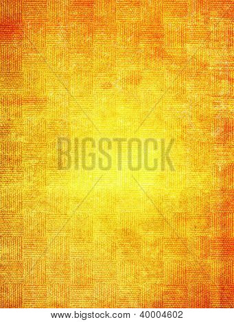 Old Fabric: Abstract Textured Background With Red And Yellow Patterns