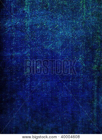 Old Fabric: Abstract Textured Background With Blue Patterns On Dark Backdrop