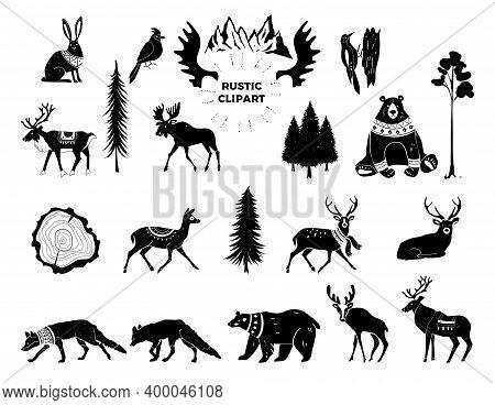 Vector Christmas Illustration. Hand Drawn Design Elements. Nursery Scandinavian Art. Tribal Animals.
