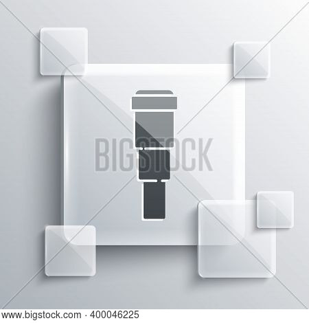 Grey Spyglass Telescope Lens Icon Isolated On Grey Background. Sailor Spyglass. Square Glass Panels.