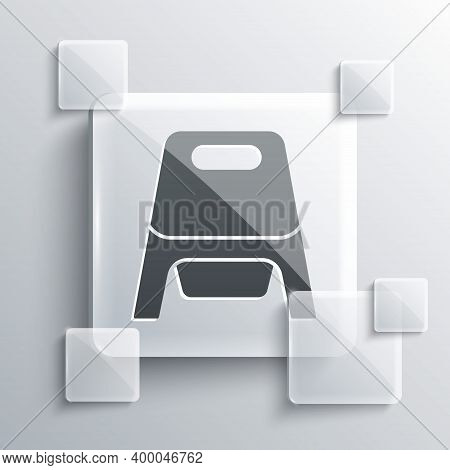 Grey Baby Potty Icon Isolated On Grey Background. Chamber Pot. Square Glass Panels. Vector