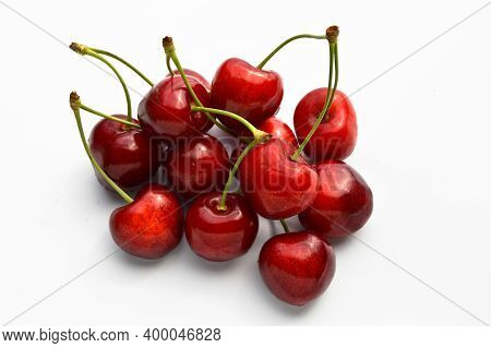 Juicy Sweet Natural And Organic Fresh Cherry Sour Cherry, Isolated On White Background