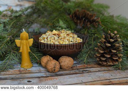 Traditional Ukrainian Food Kutya. Traditional Food For Christmas Eve In Belarus, Ukraine And Poland.
