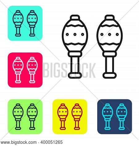 Black Line Maracas Icon Isolated On White Background. Music Maracas Instrument Mexico. Set Icons In