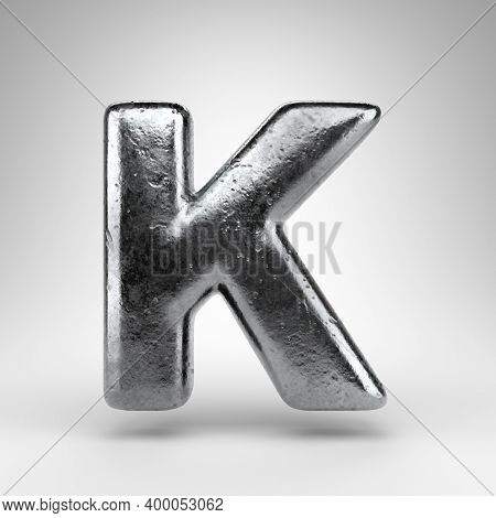 Letter K Uppercase On White Background. Iron 3d Rendered Font With Gloss Metal Texture.