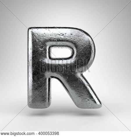 Letter R Uppercase On White Background. Iron 3d Rendered Font With Gloss Metal Texture.