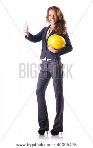 Woman construction worker with hard hat on white