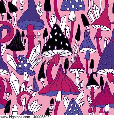 Vector Print With Mushrooms In Cartoon Style. Hallucinogenic Fly Agarics In Pink Colors For Backgrou