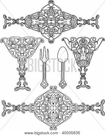 Ornate abstract silhouettes
