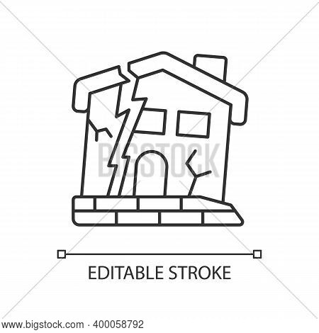 Dilapidated House Linear Icon. Abandoned Buildings. Dangers In Old Houses. Derelict Buildings. Thin
