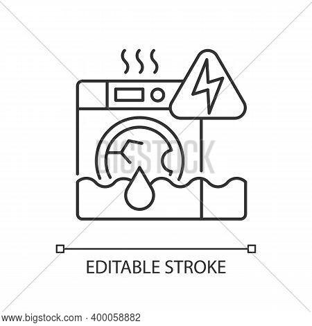 Household Appliances Malfunction Linear Icon. Washing Machine, Dishwasher. Appliance Breakdown. Thin