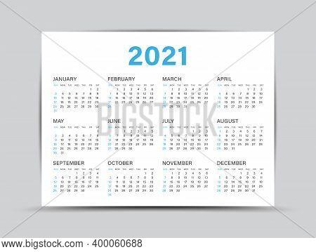 Calendar 2021 Template - 12 Months Yearly Calendar Set In 2021, Planner, Wall Calendar 2021 Year, Ve