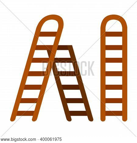Stairs. Set Of Wooden Ladder. Simple Stairway For Climbing Up.