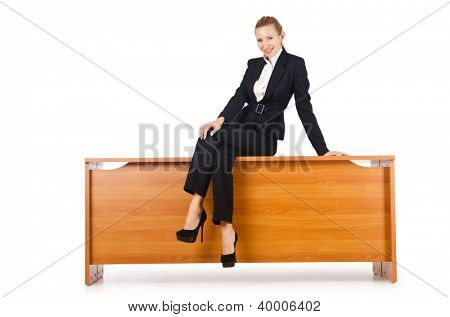 Businesswoman woman on the desk