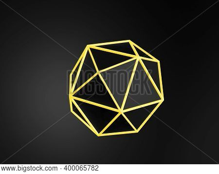 Abstract Black Schematic Atom Object With Glowing Yellow Edges Is Over Dark Background, 3d Rendering