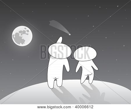 Lovers watching a shooting star at the full moon