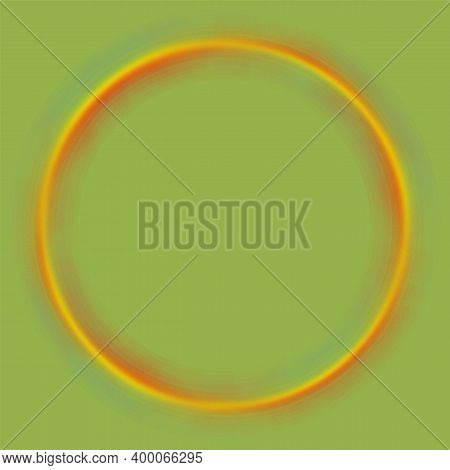 Spectrum Blurred Circle Jpeg Illustration. Abstract Blurry Color Wheel On Green Background. Round Fr