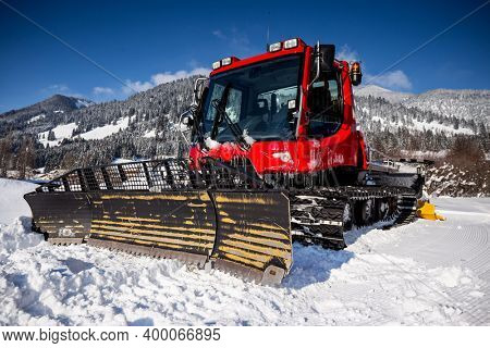 Piste machine (snow cat) on the mountains, close up