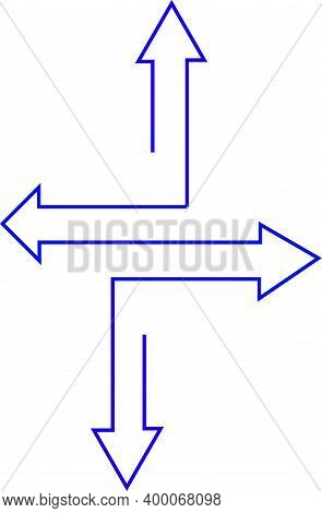 Four Arrow Heads Pointing In Four Different Dirrections Connected By One Blue Line.